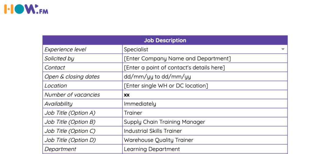 Job Description Trainer in Logistics